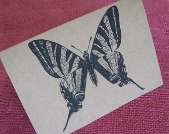 """Butterfly Set of ANY 3 Greeting Note Cards Invitation Recycled Kraft Cardstock with matching envelope 5 x 7"""""""