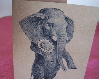 Dandy Elephant with Corsage Set of ANY 3 Note Cards Invitations printed on Recycled Kraft Cardstock with matching envelope 5 x 7""