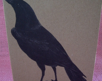 """Solitary Black Crow Raven SET OF ANY 3 Greeting Note Cards Invitations Recycled Kraft Cardstock with matching envelope 5 x 7"""""""