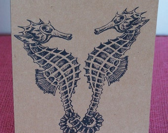 Romantic Seahorses Set of ANY 3 Greeting Note Cards Invitations printed on Recycled Brown Kraft Cardstock with matching envelope 5 x 7""