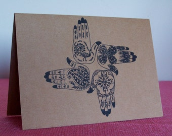 """Mehndi Tatoo Hands Wedding Set of ANY 3 Greeting Note Cards Invitation Brown Recycled Kraft Cardstock with matching envelope 5 x 7"""""""