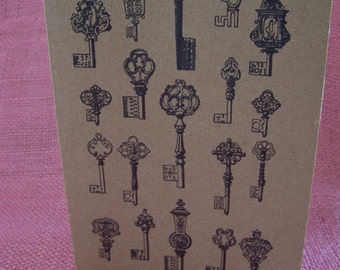 """Collection of Skeleton Keys Set of ANY 3 Greeting Note Cards Invitation Brown Recycled Kraft Cardstock with matching envelope 5 x 7"""""""