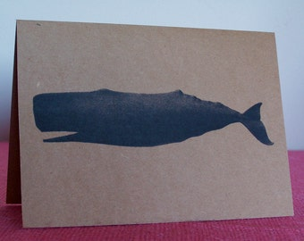 """Sperm Whale Set of ANY 3 Greeting Note Cards Invitations printed on Kraft Heavy Cardstock with matching envelope 5 x 7"""""""