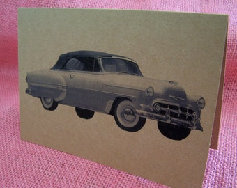 Chevrolet Convertible 1950's 50's Fifties Car Set of ANY 3 Greeting Note Cards Invitation Kraft Cardstock with matching envelope 5 x 7""