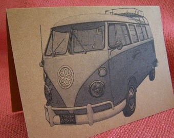 Volkswagen Bus Van 1960's Flower Power Set of ANY 3 Greeting Note Cards Invitation Kraft Cardstock with matching envelope 5 x 7""
