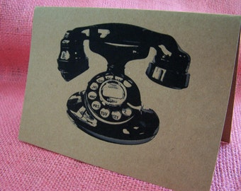 Vintage Telephone Stationary Set of ANY 3 Greeting Note Cards Invitation Brown Recycled Kraft Cardstock with matching envelope 5 x 7""