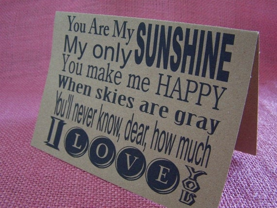 """You Are My Sunshine Set of ANY 3 Note Cards Invitations printed on Kraft Cardstock with 3 matching envelopes 5 x 7 """""""