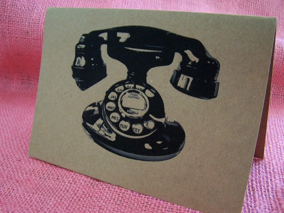 """Vintage Telephone Stationary Set of ANY 3 Greeting Note Cards Invitation Brown Recycled Kraft Cardstock with matching envelope 5 x 7"""""""