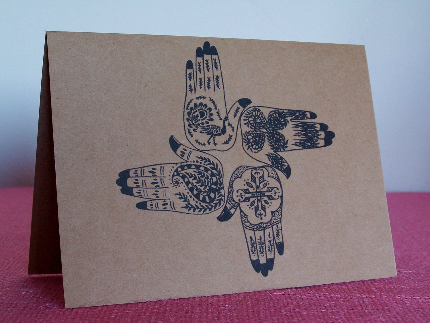 Mehndi Henna Hand Greeting Cards : Mehndi tatoo hands wedding set of any greeting note cards