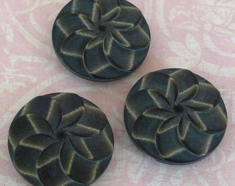Pinwheel Buttons Charcoal Grey 22mm (3)