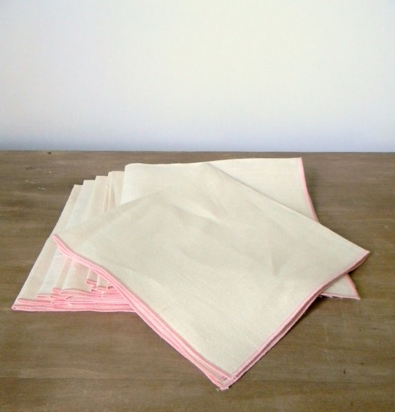 Vintage linen napkins with pink trim
