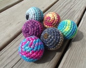 3 Cat or Ferret Toy Jiggaly Balls - Covered Rattles - Any Color ~ all proceeds go towards shelter donations