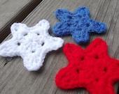 6 Crochet Patriotic Stars Applique Set (blocked) - Red White Blue