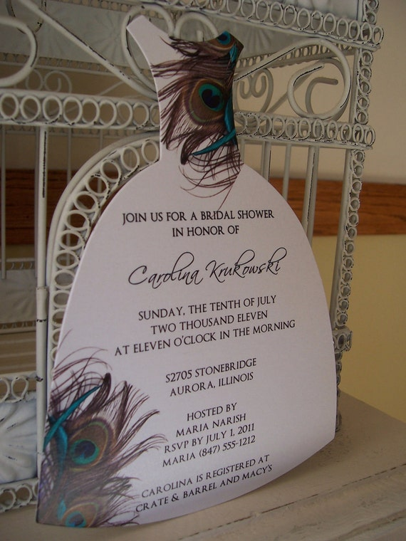 Peacock Bridal Shower Invitationcustom Die Cut Dress