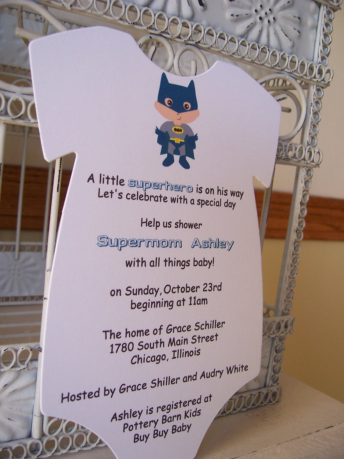 batman baby shower invitation custom die cut onesie order