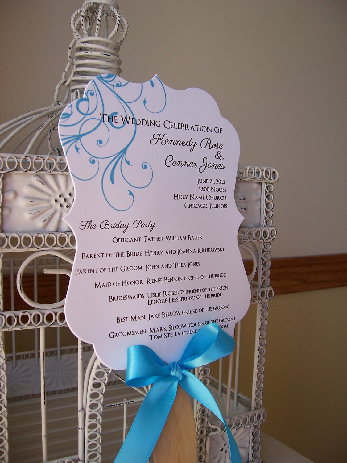 Fan wedding program with scalloped paddle custom colors and for Wedding paddle fans