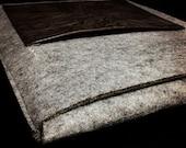 Grey Wool Felt with Dark Brown Leather Pocket iPad Sleeve