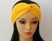 Eco Friendly Sunshine Yellow Twist Headband Yoga Turban Scarf Hairband Urban Turban Hair Band Head Wrap