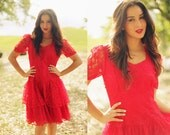 Vintage 1980s Bright Red Ruffles Lace Formal Prom Dress