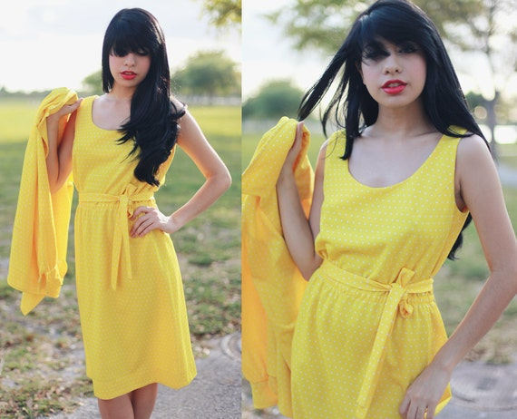 Vintage 1960s Bright Neon Yellow Polka Dot Dress with Jacket //////////RESERVED FOR hannah salt ////////////////////