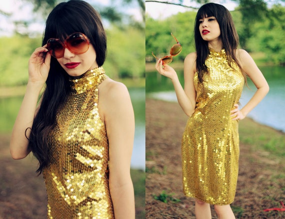 Vintage 1980s Gold Sequin Party Dress