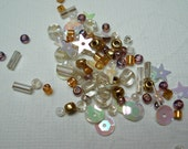 Seed Bead Sequin Mix. Bugle Beads. Seed Beads, Sequins. White. Gold. Mauve.