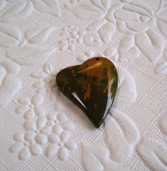 Pendant Jasper Natural Heart Focal 45mm (1)