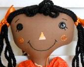 Raggedy Ann - Cloth Doll -  Orange and White  - Prima Ballerina
