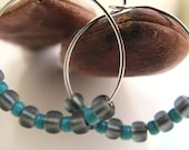 Bead Hoops with Turquoise & Gray - gift under 20 usd