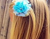 Ruffle Flower Bobby Pin in Blue and White