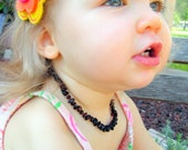 Dark Cherry Baltic Amber Teething Necklace - 10.5 inch - Baby Jewelry