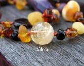 Genuine Citrine Gemstone - November Birthstone - Personalize your child's jewelry with custom accents