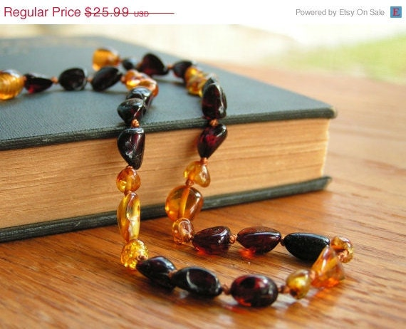 CHRISTMAS SALE Perfect Eco/Green Christmas Gift - Two Tone Baltic Amber Teething Necklace - 13 inch - Child Toddler jewelry - Made in Texas