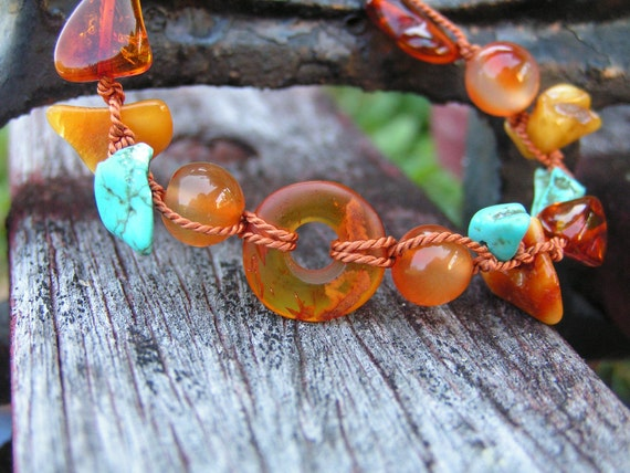 Baltic Amber Bracelet with Amulet - Genuine Carnelian - Turquoise - Butterscotch - Macrame