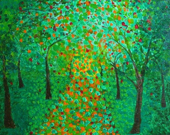 green tree forest leaves fall autumn woods original painting
