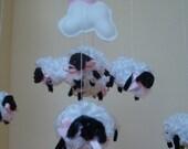 Mobile, Sheep, lamb for nursery and baby girl
