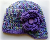 Purple Multi Colred Baby Girl Beanie with Visor and Purple Flower