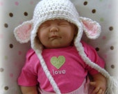 Baby Girl White Lamb Hat Easter Photograhy Prop Hand Crocheted