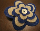 Felt Flower Hair Clip in Blue Glitter/Oatmeal with Button