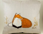 """Fox Painted Pillow - Hand Painted Decorative Pillow Case """"Fox in Field"""" -Fox Throw Pillow"""