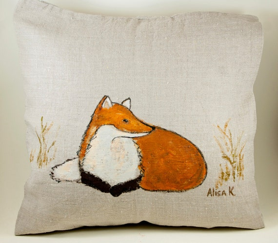 "Fox Painted Pillow - Hand Painted Decorative Pillow Case ""Fox in Field"" -Fox Throw Pillow"