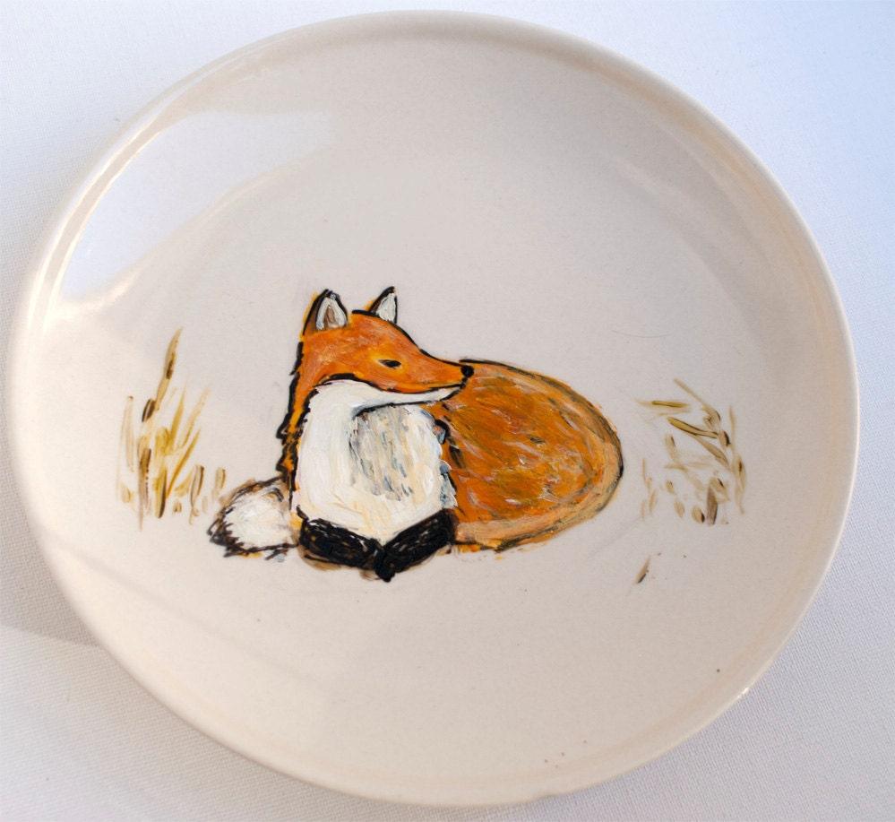 Fox Home Decor Hand Painted Plate Fox In The Field Fox
