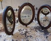 English Trifold  Beveled Shaving Mirror