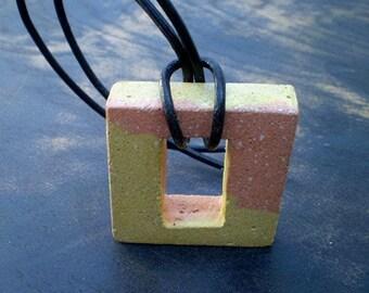 Yellow and Orange Concrete Necklace, Colorful Jewelry, Square Pendant, Modern Concrete