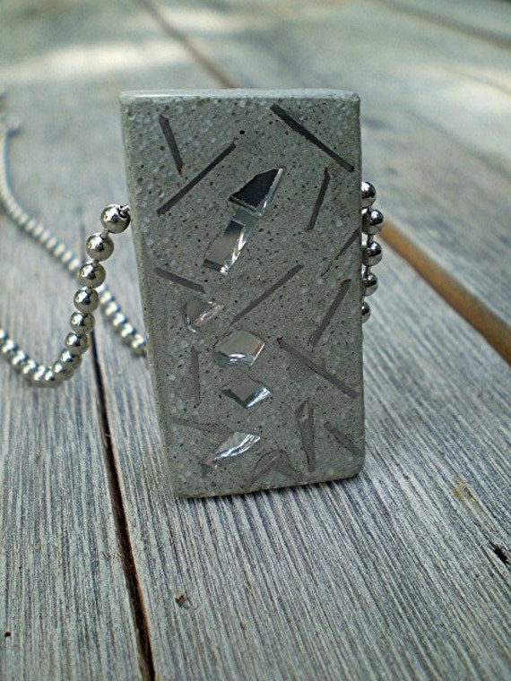 Pendant Necklace. Grey Concrete and aluminum wire and mirror.  Unisex . Reversible Pendant. Modern Concrete. '  Industrial collection ' .
