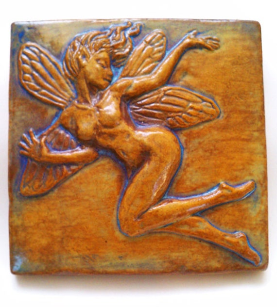 faerie fairy bas relief ceramic tile sculpture. Black Bedroom Furniture Sets. Home Design Ideas
