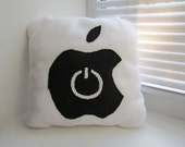 Decorative Pillow - Handmade Pillow - Apple icon Pillow - 12x12 White Geekery Pillow