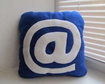 Handmade Decorative Pillow - 12 x 12 AT sign - Blue Geekery Pillow
