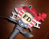 Firefighter Wedding Boutineer Groomsmen Non-Traditional Boutonniere Personalized Wedding Bout Old School Style