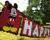 ON SALE for 26.99 Handmade Mickey Mouse Happy Birthday Party banner - other characters available-  Customizable  Ready TO ship -